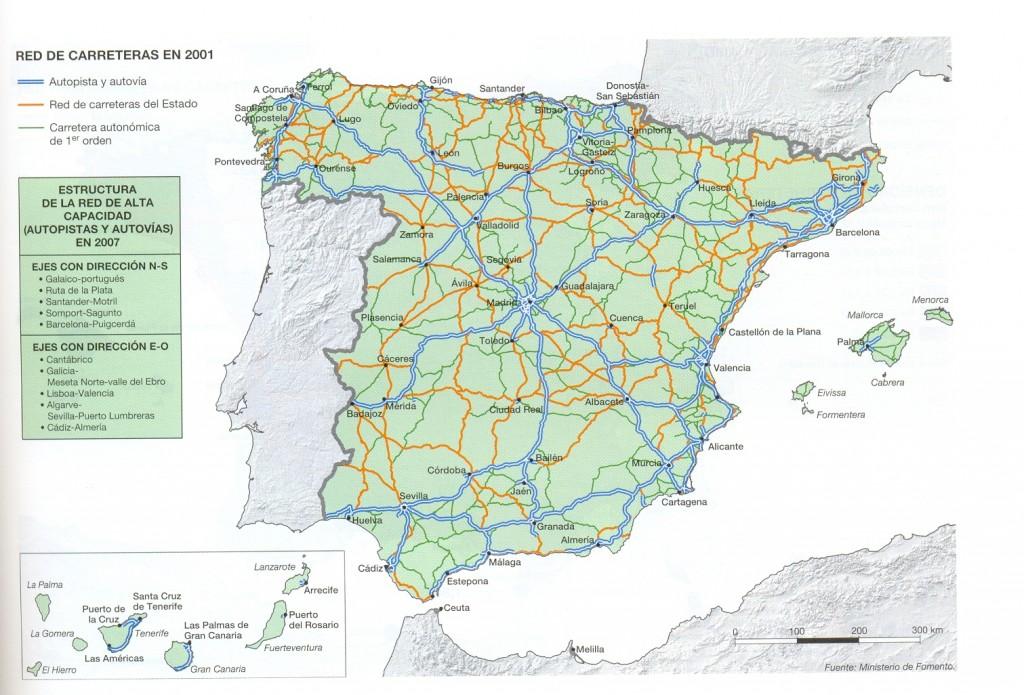 PRCTICA 13 Comentario del mapa de carreteras de Espaa