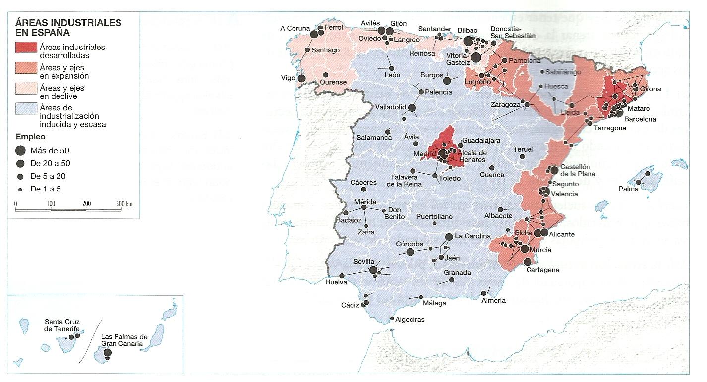 Mapa areas industriales en España